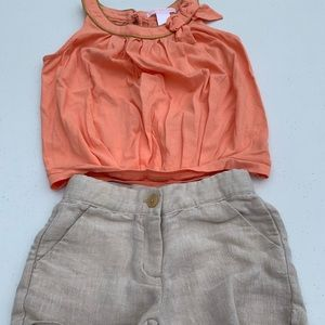 Janie and Jack size 4 melon and khaki outfit